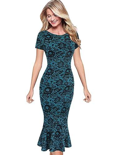 VfEmage Womens Elegant Vintage Floral Flower Print Mermaid Midi Mid-Calf Dress