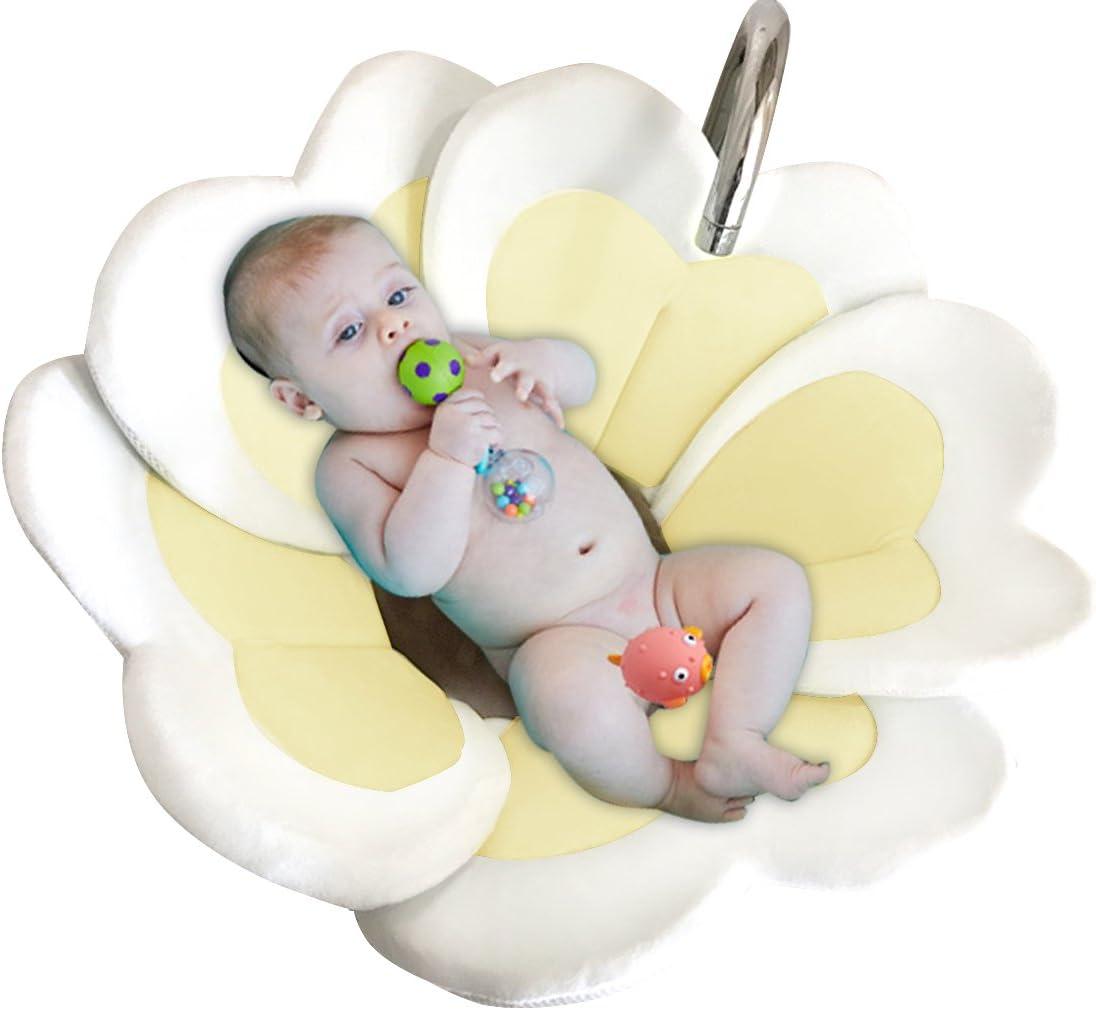 0-6 meses de beb/é Edith qi Baby BathTub Seat,Nuevo coj/ín de alfombra de ba/ño de flores,Ba/ño para ba/ñarse,Regalo encantador del beb/é para el bautizo reci/én nacido,Fiesta de cumplea/ños