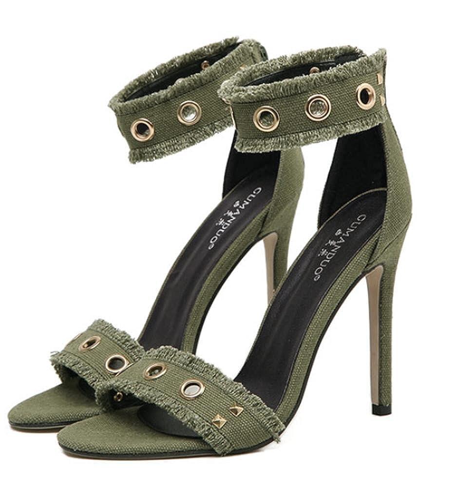 Lhyu Frauen Frauen Lhyu Sandalen Niet Spitze Feine Sexy Sandalen mit High Heels Nachtclub Schuhe Bankett Schuhe, Grün, 40 Gute Qualität - 389791