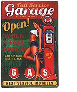 """MAIYUAN Garage Open Gas Wall Plaque Metal Sign Word Art Antique Tray Home Decor pin up Poster Coffee Signs for Wall 12"""" X 8""""(20-M0032)"""