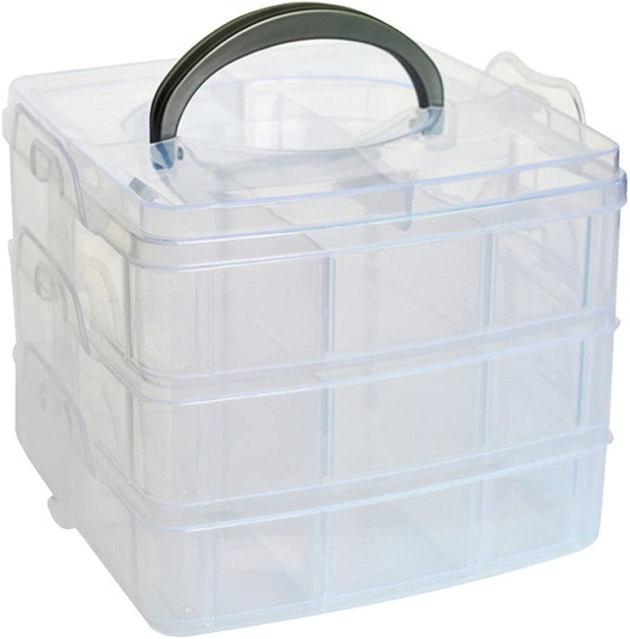 3 Layers 18 Dividers Adjustable Pills Storage Organizer Case Jewelry Box
