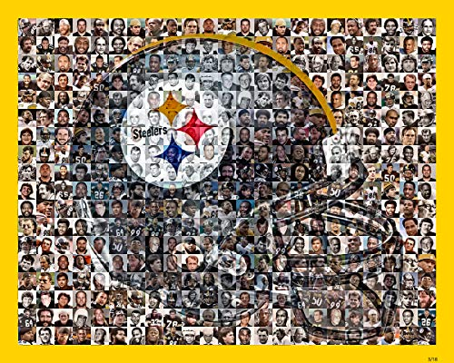 Pittsburgh Steelers Photo Mosaic Print Art, Showing Over 200 of the Greatest All Time Steelers Players, 8x10