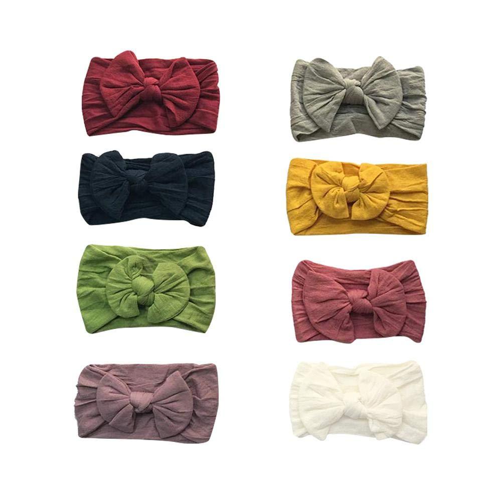 8pcs fille bandeaux et noeuds accessoires pour cheveux , super bandeaux en nylon b/éb/é noeud extensible pour nouveau-n/é b/éb/é filles nourrisson enfants en bas /âge enfants