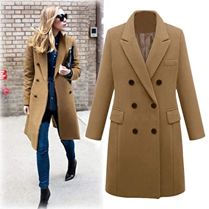 YOMXL Women Trench Coats Elegant Ladies Notched Lapel Double Breasted Overcoat Classic Winter Pea Coats Outwear Jacket