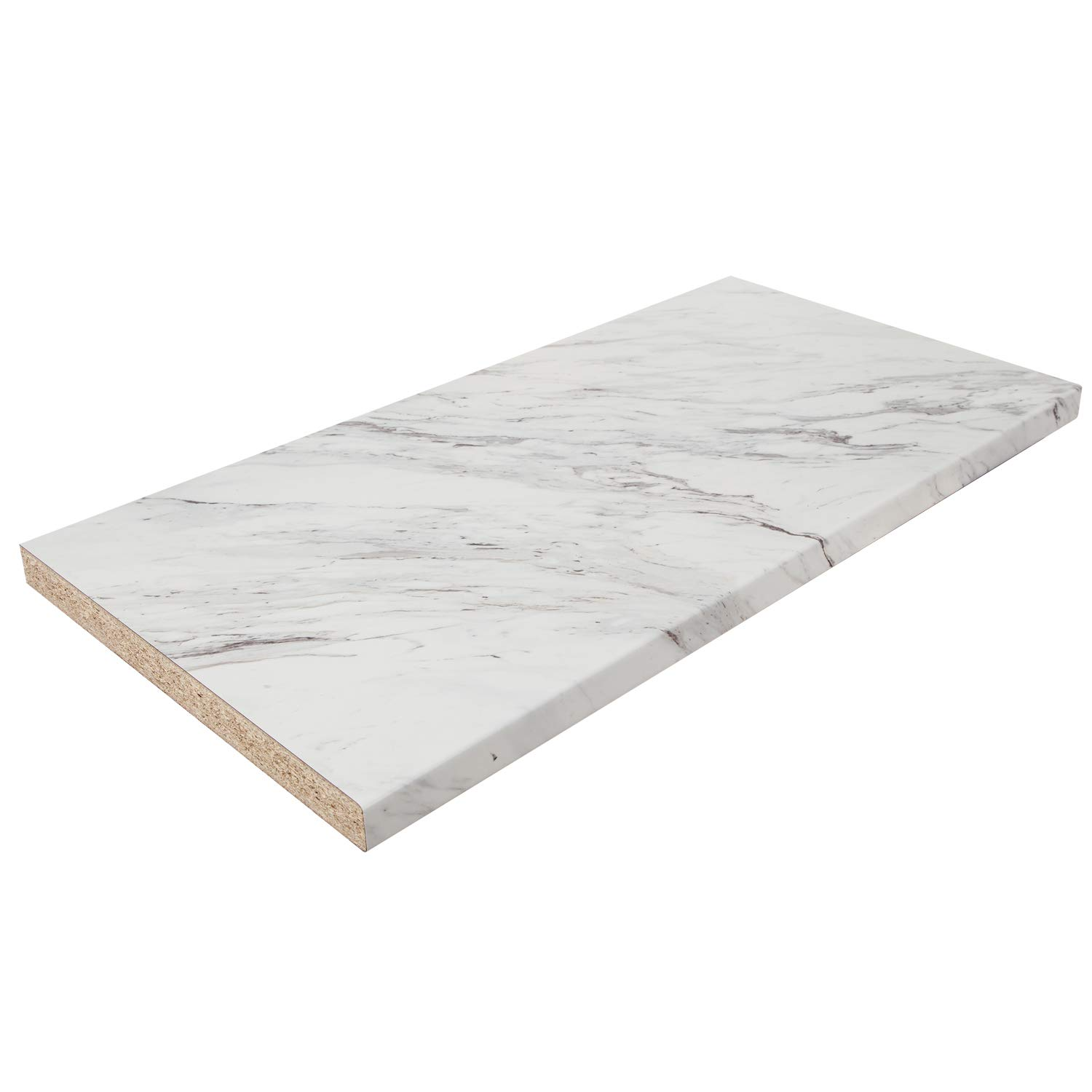 White marble effect laminate kitchen worktop
