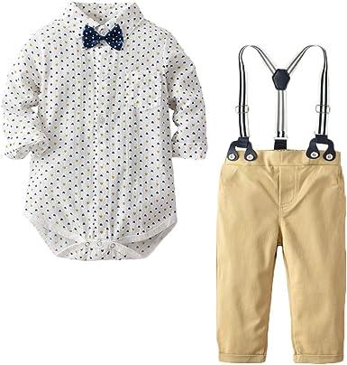 QitunC Recién Nacido Trajes Gentleman Ropa Bebé Niño Conjuntos Bowtie Camisa Mameluco + Suspender Pantalones: Amazon.es: Ropa y accesorios