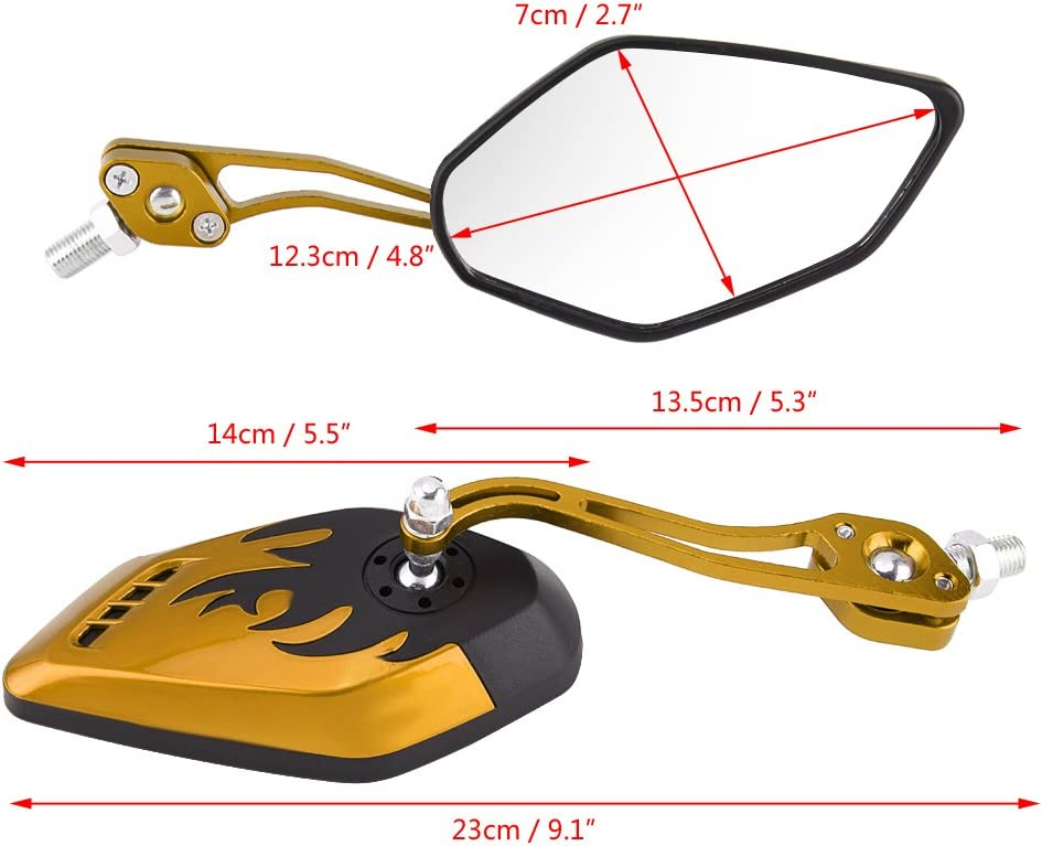 2# Universal Aluminum Flame Pattern Motorcycle Scooter Side Rear View Mirrors for All Most Motorcycles Motorcycle Mirrors