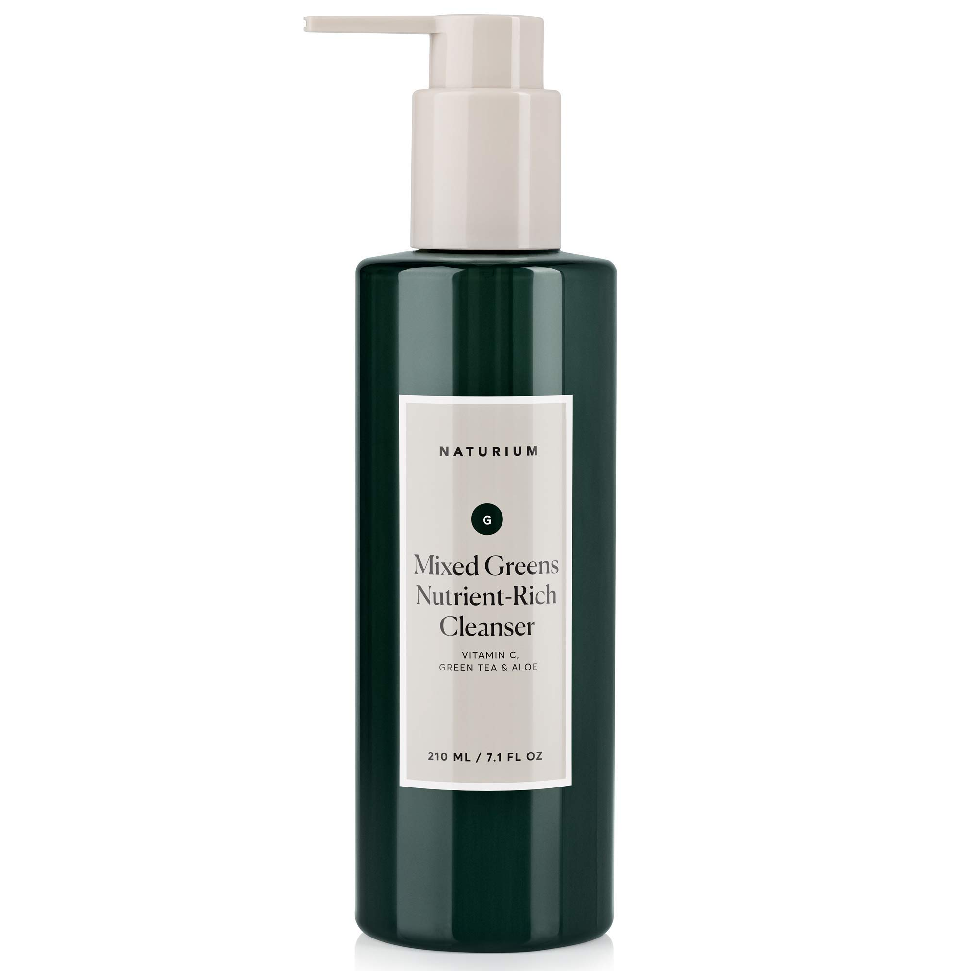 Mixed Greens Nutrient-Rich Facial Cleanser - 7.1 oz, Breakout & Blemish Prevention, Clear Pores, Anti-Wrinkle Gel Face Wash with Vitamin C, Green Tea & Aloe by Naturium
