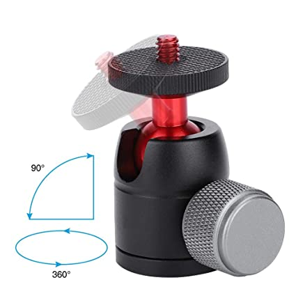 Acouto Alumium Alloy Red 1//4 Screw Mount Mini Ball Head 360/°//90/° Rotation Tripod Heads For DSLR Camera Tripod,Load 2KG