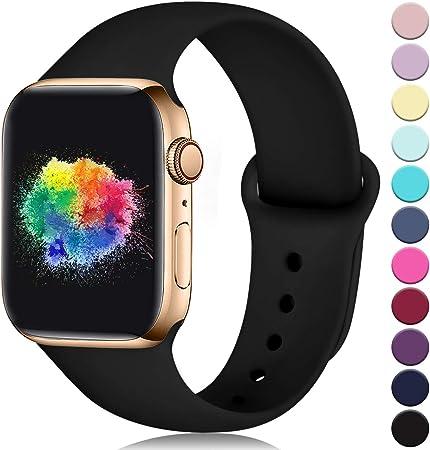 Imagen deYoumaofa Correa Compatible con Apple Watch 38mm 40mm, Correa de Silicona Repuesto Pulsera Deportivas para iWatch Series 5 Series 4 Series 3 Series 2 Series 1, 38mm/40mm M/L Negro
