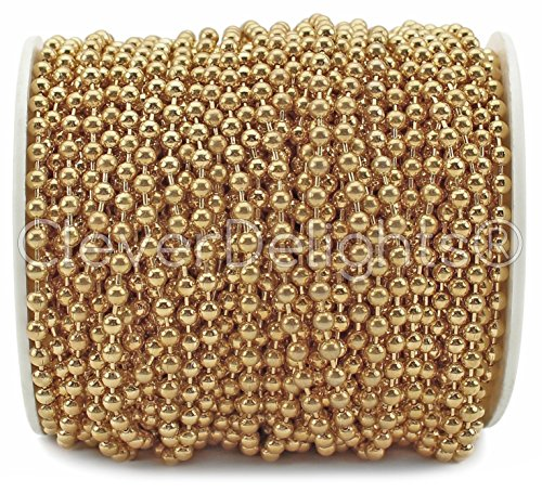 CleverDelights Ball Chain Spool - 100 Feet - 3.2mm Ball (#6 Size) - Champagne Gold Color - 30 Meters