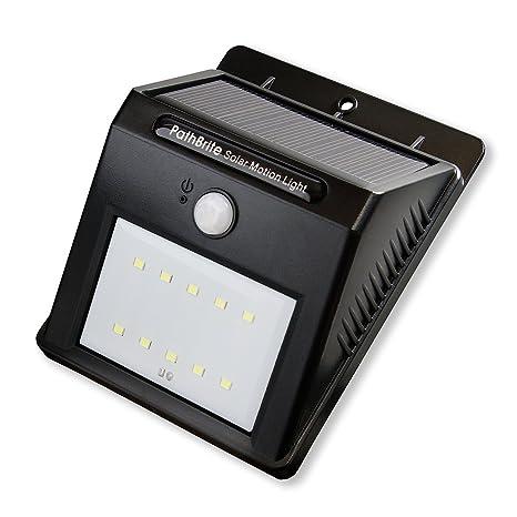 Luz Solar de Sensor de Movimiento PathBrite. 10 LED Ultra Brillante, 2 Modos de Iluminación Inteligente, Detector ...