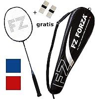 FZ Forza - Raquette de Badminton Airflow 74 Lite - Raquette très légère entièrement en Graphite pour Un contrôle - Strung - en Rouge ou en Bleu + Deux poignées gratuites et Une Housse de Raquette