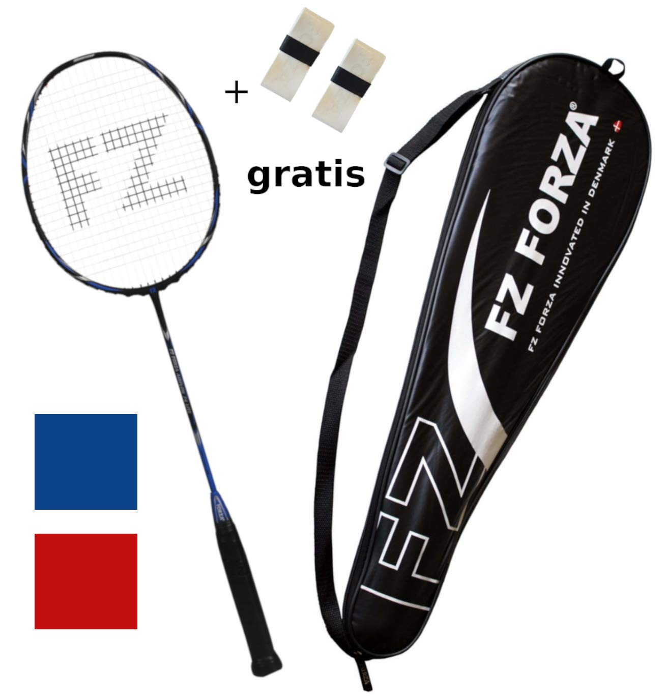 in red or blue FZ FORZA 2 overgrips for free fullsize racketcover strung badminton racket Airflow 74 Lite very light full graphite racquet for great control