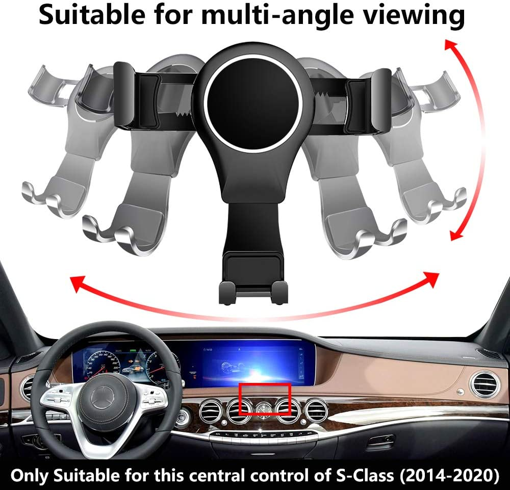 LUNQIN Car Phone Holder for 2014-2020 Mercedes Benz S-Class Auto Accessories Navigation Bracket Interior Decoration Mobile Cell Phone Mount