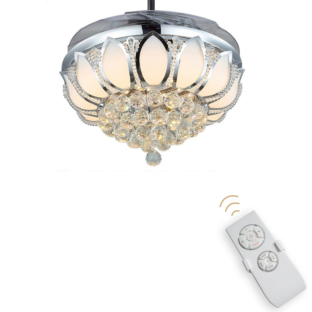 Luxury modern crystal chandelier ceiling fan lamp folding ceiling luxury modern crystal chandelier ceiling fan lamp folding ceiling fans with lights chrome ceiling fan with light dining room decorative with remote control arubaitofo Images