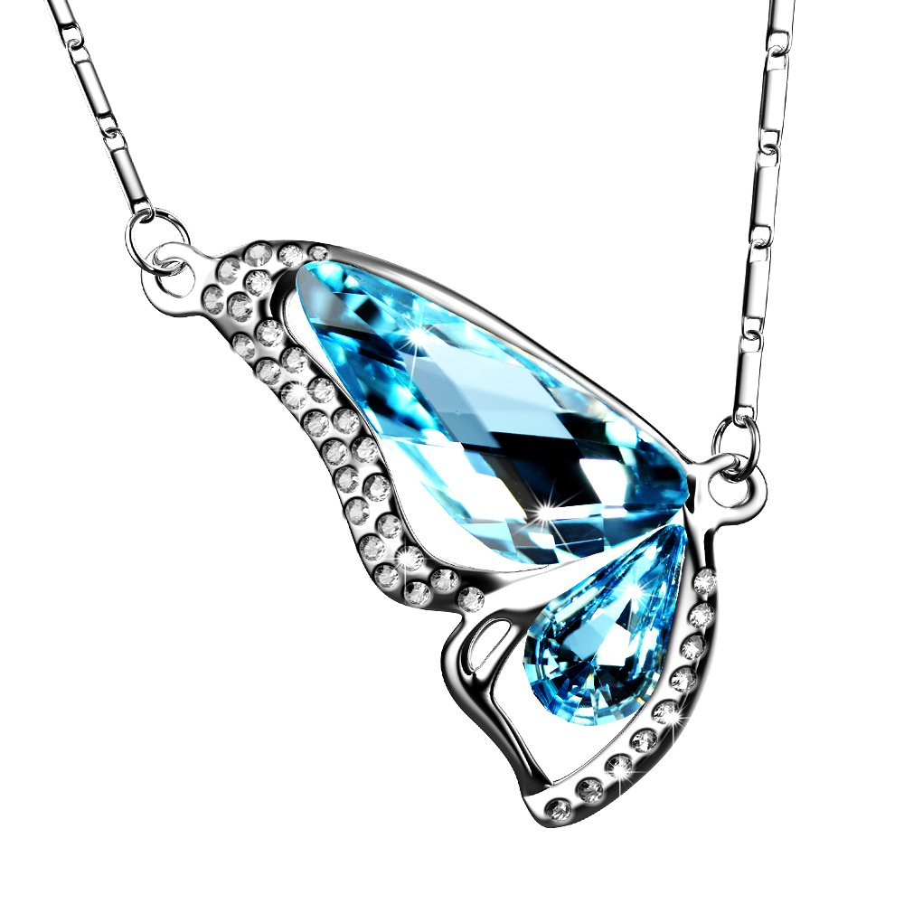 UHIBROS Heart Pendant Eternal Love Sliver Necklace Jewelry Silver Crystal Zircon Gift (Blue)