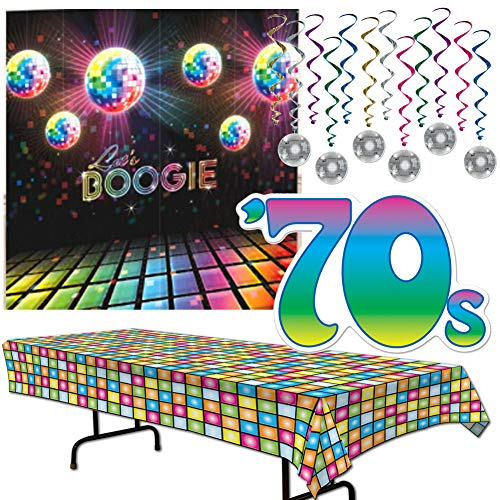 Disco 1970's Party Decoration Supplies Table Cover - Hanging Whirls with Disco Balls - 70's Cut Out - Let's Boogie Wall Mural - Hippie Flower Child Baby Boomer Oldies Set Kit Bundle -