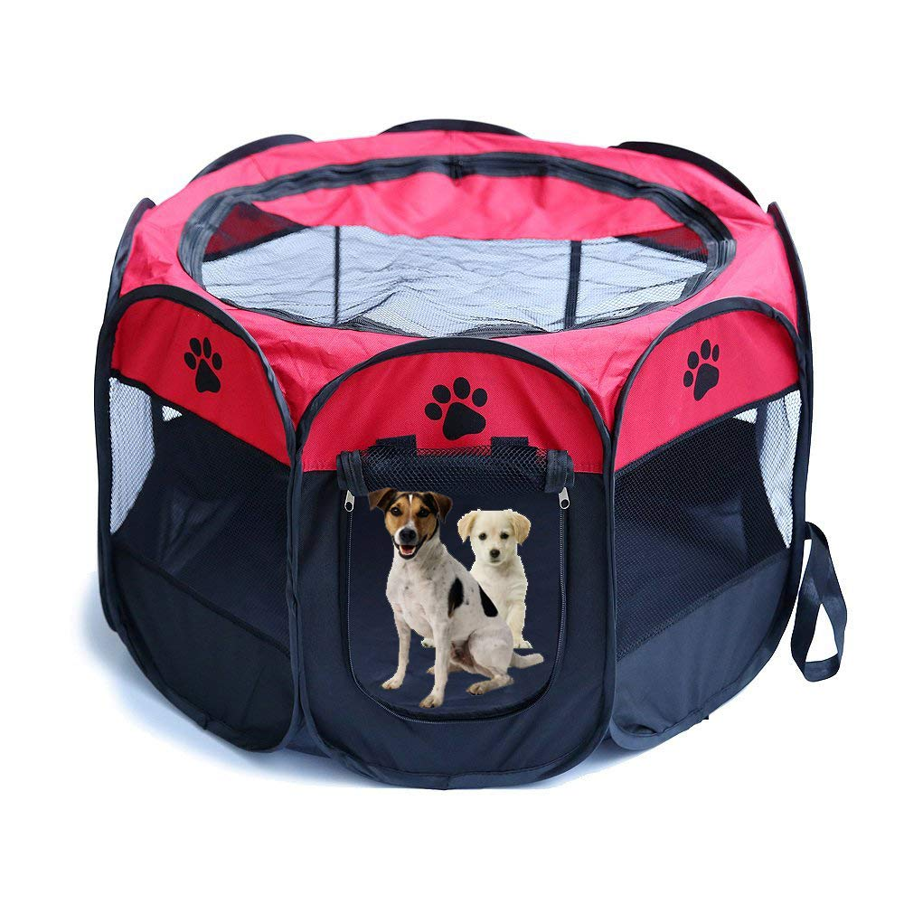 RED L (35\ RED L (35\ Pet Dog Cat Playpen Cage Crate Portable Folding Exercise Kennel Indoor & Outdoor use
