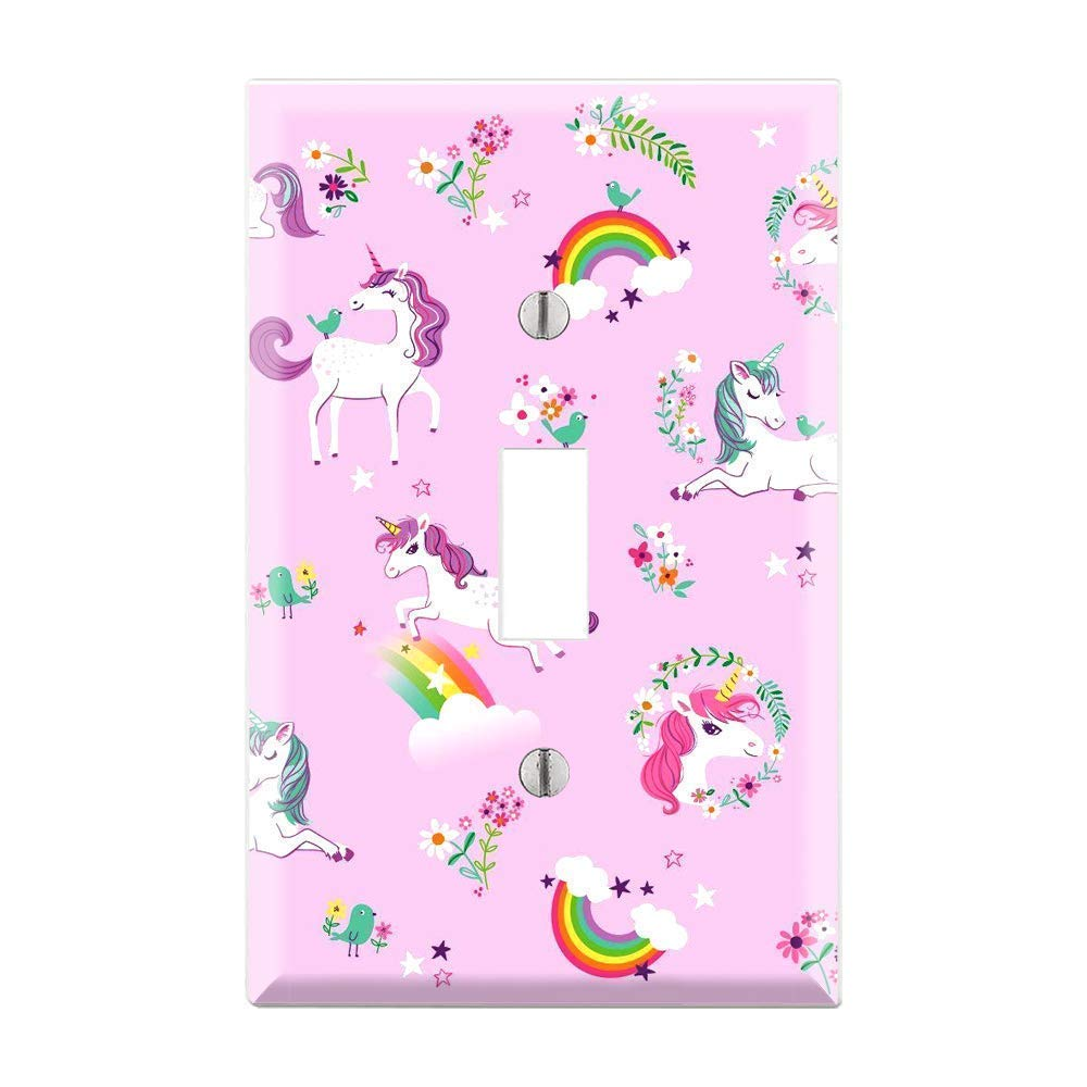 UNICORN Light Switch Cover, Unicorn Light Switch Plate, Unicorn Light Switch, Unicorn Plate Cover, Pink Rainbow Unicorn Girl Room Decor TF23