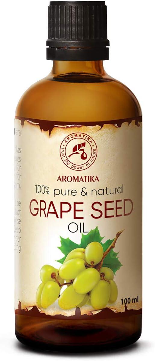 Aceite de Semilla de Uva 100ml - Prensado en Frío - Vitis Vinifera - Italia - 100% Puro y Natural - Mejores Beneficios para el Cabello - Cuidado de Cara y Piel - Masaje - Grape Seed Oil