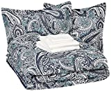 AmazonBasics 8-Piece Comforter Bedding Set, King, Blue Paisley, Microfiber, Ultra-Soft