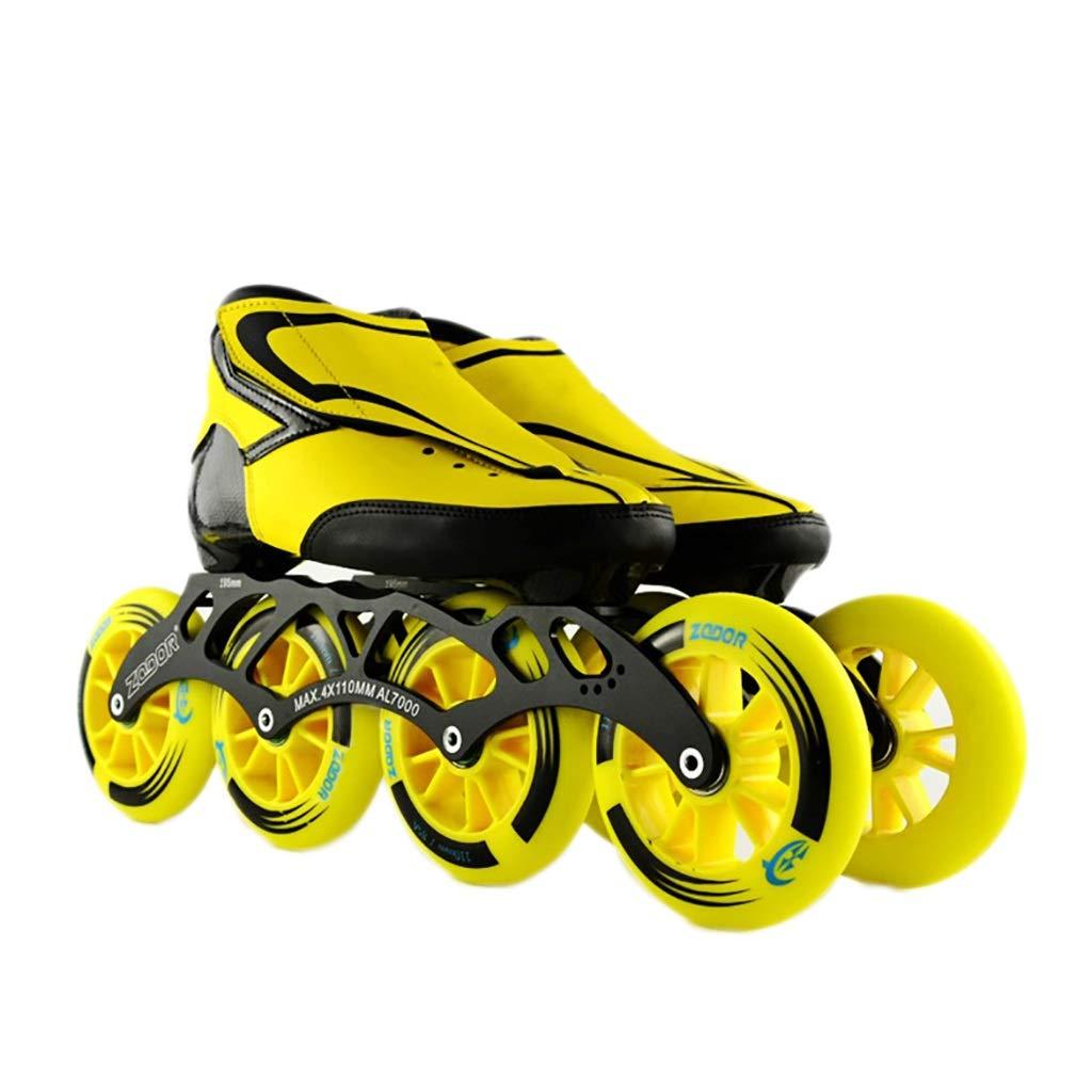 NUBAOgy インラインスケート、90-110ミリメートル直径の高弾性PUホイール、2色で利用可能な子供のための調整可能なインラインスケート (色 : Green, サイズ さいず : 44) B07J3113VX 35|イエロー いえろ゜ イエロー いえろ゜ 35