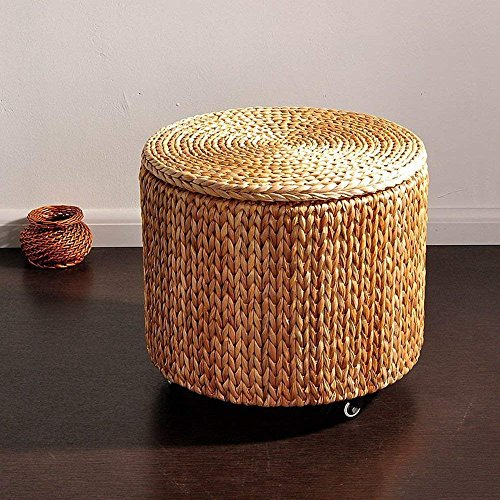QTQZ Brisk- Retro American Pastoral Mobile Pulley Round Storage Stool with A Storage Sofa Stool (Color: A)