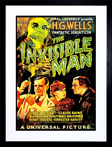 9x7 '' MOVIE FILM INVISIBLE MAN HG WELLS CLASSIC HORROR FRAMED ART PRINT F97X545