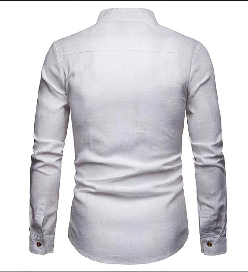 Qiangjinjiu Mens Shirts Cotton Linen Casual Button Up Long Sleeve Loose Fit Shirts