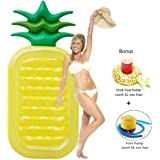 SYITCUN Giant Inflatable Pineapple Pool Party Float Raft Summer Outdoor Swimming Pool Inflatable Floatie Lounge Pool Loungers for Adults & Kids-Enjoy Summer Time with Family
