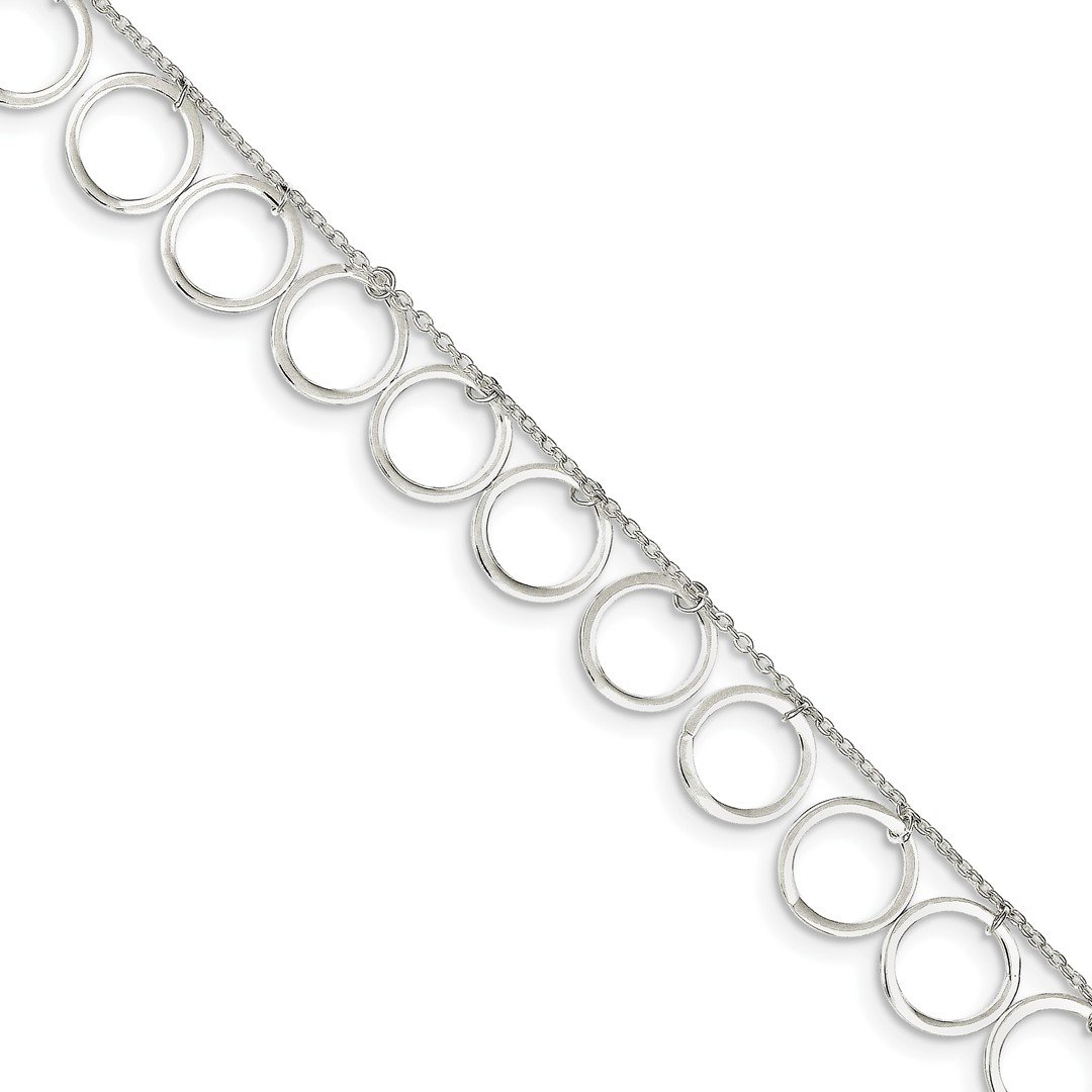 925 Sterling Silver Dangle Circles Anklet Ankle Beach Chain Bracelet Fine Jewelry For Women Gift Set ICE CARATS IceCarats 6757667124621390330