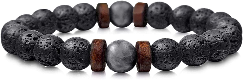 CNNIK Pulsera para Hombre de Piedra volcánica de Lava de 8 mm Difusor de Aceite Esencial Pulsera elástica Moonstone Hombres Regalo de joyería Tamaño Ajustable