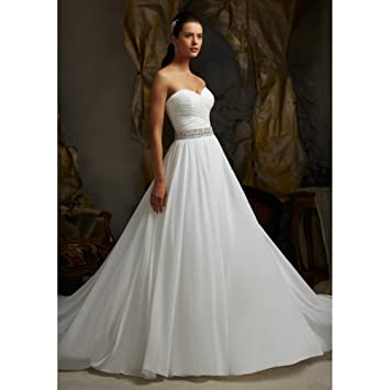 d18005cb0a7a4 Amazon.com   Luxurious slim gowns A-Line Sweetheart Beading Ruched Sashes  Chiffon Long Wedding Dress   Beauty