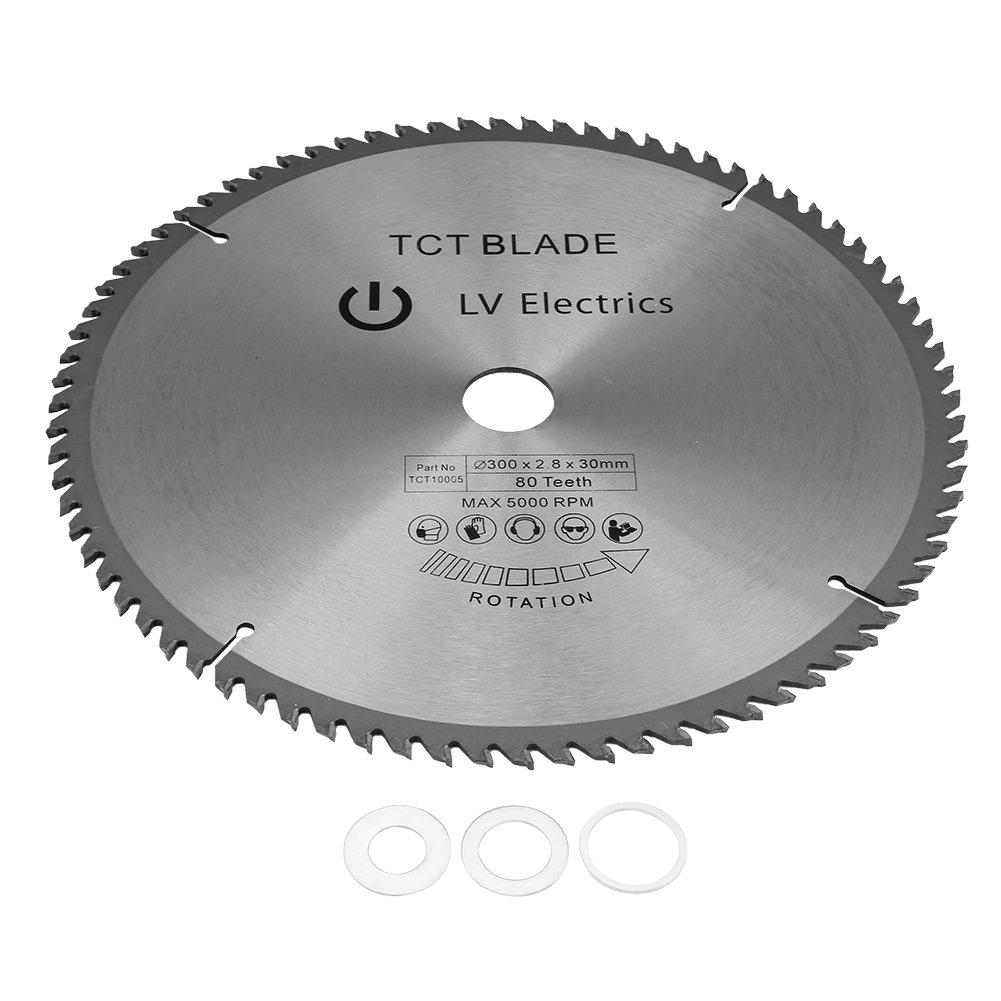 12'' 80 Tooth TCT Premium Carbide General Purpose Wood Cutting Circular Saw Blade Bore Diameter 30mm with 3 O-rings