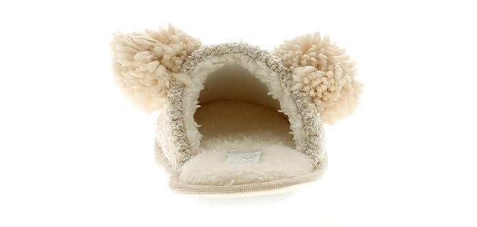 Damen Strick Style Maultier, mit süßen Bommel Ohren und Herz Nase gepolstert Innensohle für bequem und Fleece Futter - beige - UK Größen 3-8 - Beige, 39