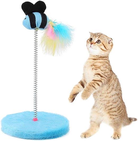 Mini juguetes interactivos para gatos Juguete elástico lindo para gatos Juguete para mascotas Gatito para mascotas Juegue Juguete elástico para pescar colector de primavera Mantiene al gatito(Azul): Amazon.es: Productos para mascotas