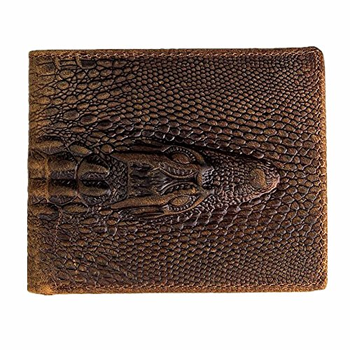 Leather Fold Distressed Bi (HRS Genuine Leather Distressed Mens Wallet Alligator Crocodile Embossed Slim Bifold Wallet)