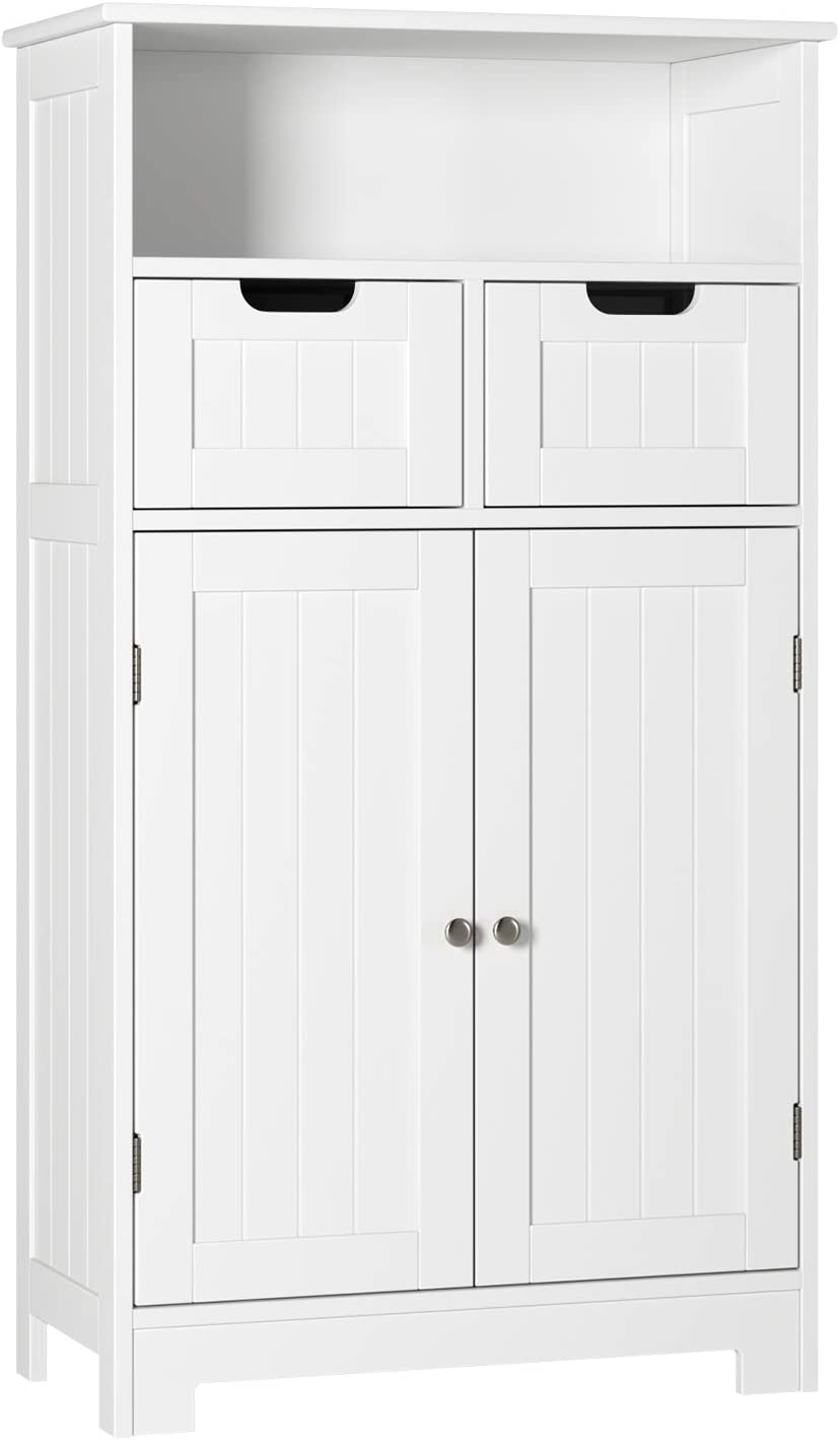 HOMECHO Bathroom Floor Cabinet Wooden Storage Organizer Side Cabinet with 2 Drawer 2 Doors Adjustable Open Shelf Free Standing Kitchen Cupboard for Home Office, White, HMC-MD-016