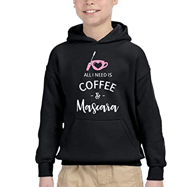 6574c546e4 Amazon.com: New Design Kid's Sweatshirts,Soft Need Is Coffee And Mascara  Cotton Hoodies Pullover For Child: Clothing