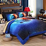 EsyDream King Size Beautiful Home Earth Galaxy Bedding Sets,Outer Space Universe Duvet Cover Queen King Size 100% Polyester (No Comforter),Queen/Full Size