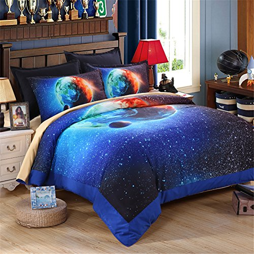 EsyDream King Size Beautiful Home Earth Galaxy Bedding Sets,Outer Space Universe Duvet Cover Queen King Size 100% Polyester (No Comforter),Queen/Full Size by EsyDream