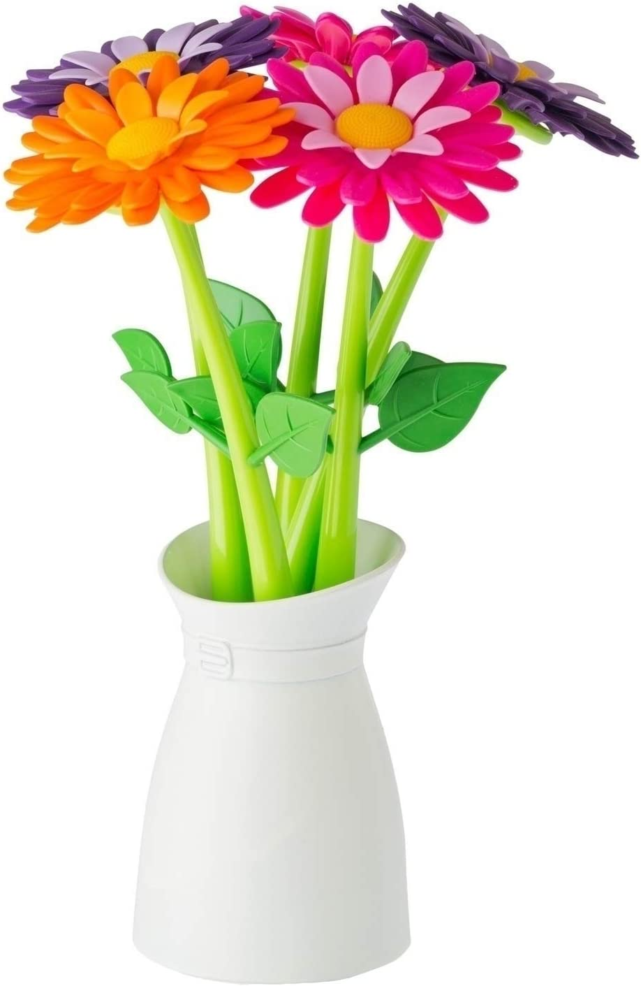Vigar Flower Shop Pen Set with Vase, Set of 5 Colorful and Decorative Flower-Shaped Pens with Matching Holder