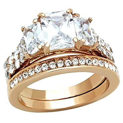 Rose Gold IP Women Wedding Ring Set Three Stone Stainless Steel Emerald Cut  Cubic Zirconia Size