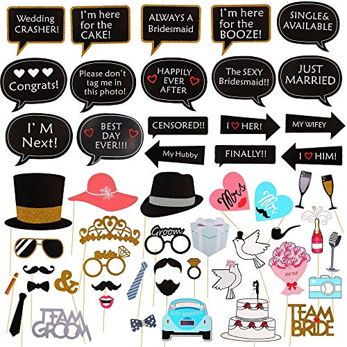 Wedding Photo Booth Props KINDPMA 53 Pieces Selfie Props Dress-up Accessories Including Mr and Mrs Party Hats Props Mustache Mouth Props for Bridal Shower Birthday Party Decoration Supplies]()