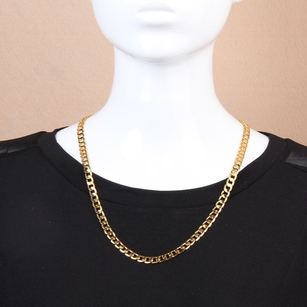 HighPlus Men Women Flat Curb Necklace Gold Plated Link Chain for Party Gift