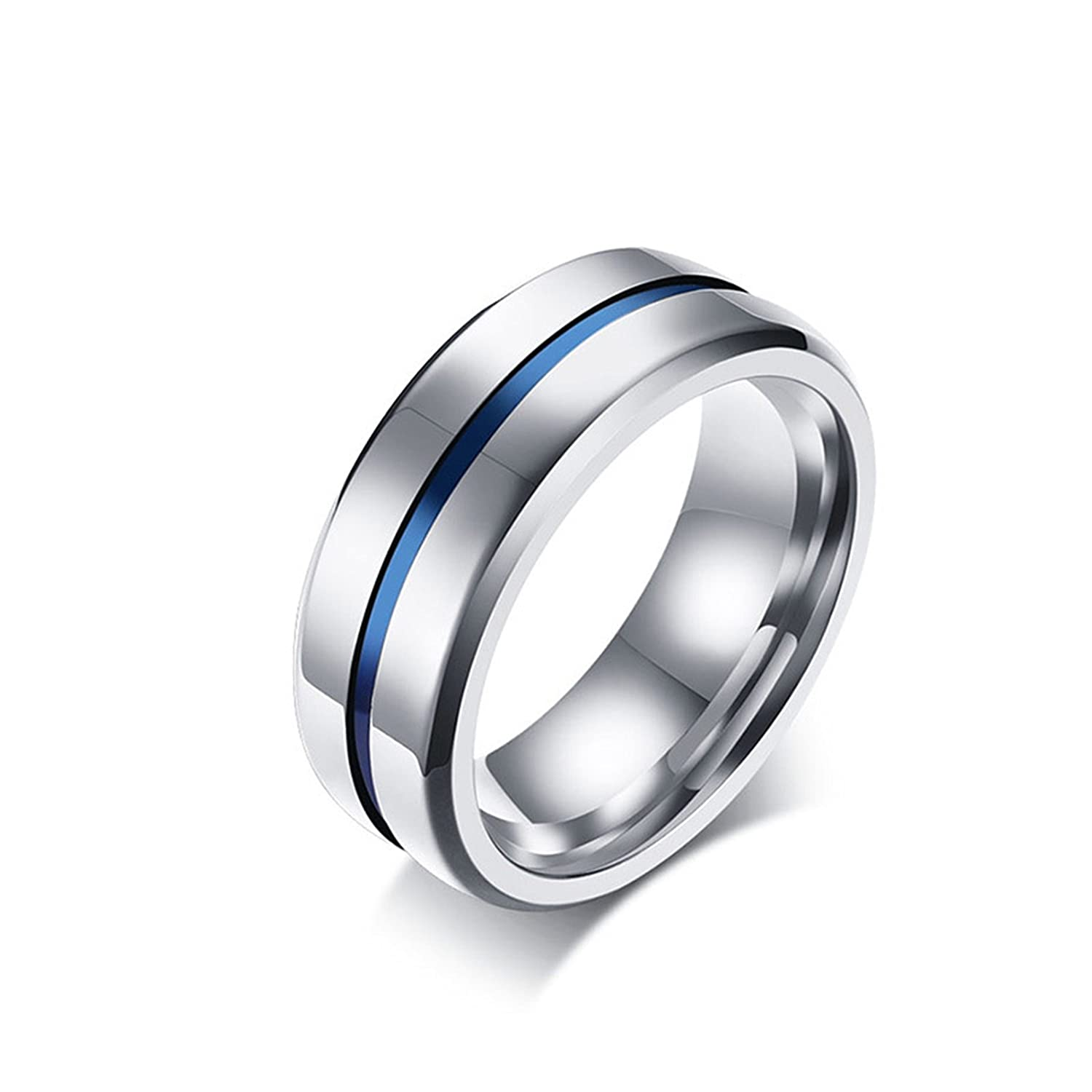 8MM Stainless Steel Thin Blue Line Groove Polished Finish Wedding Band Ring for Men Women Silver
