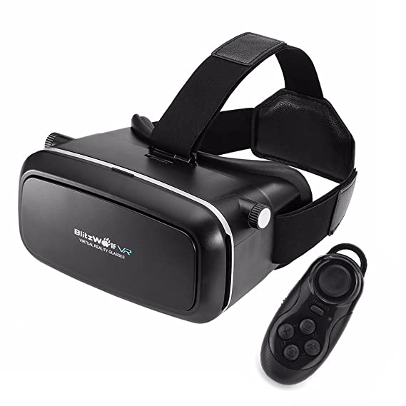 fac36b09f5bf Amazon.com  BlitzWolf VR Headset 3D Viewer Glasses + Remote ...