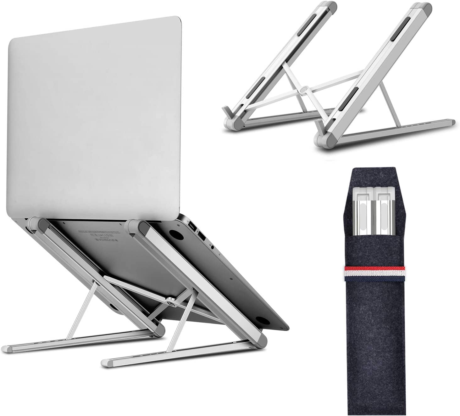 Jubor Laptop Stand, Portable Computer Laptop Mount, Aluminum Laptop Riser with 6 Levels Height Adjustment, Fully Collapsible, Supports up to 44lbs, Fits up to 17.3 Laptop - White