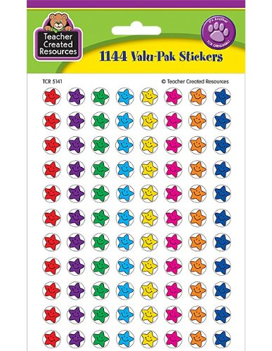 Teacher Created Resources Mini Stickers Valu Pack, Smiley Stars (5141) -